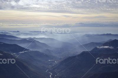 Sierra Nevada on the mist