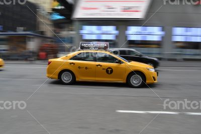 NYC taxi in movement