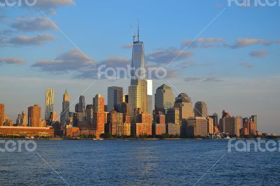 NYC\'s financial district from the water