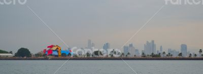 Panama City\'s Skyline from a ship