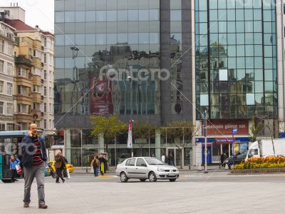 Typical type of modern building. Reflection in a mirror wall