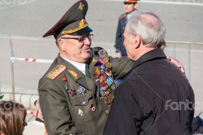 Russian veteran at the parade on annual VictoryDay