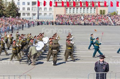 Russian military orchestra march at the parade