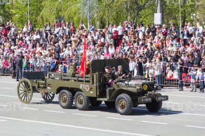 Russian military transport at the parade