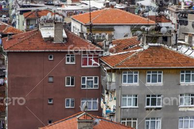Istanbul, Turkey. A view of houses on the bank of the Bosphorus