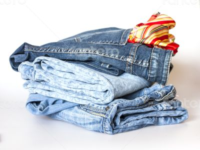 Jeans on a show-window of shop