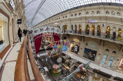 Moscow, GUM shop trading floor of by fisheye view