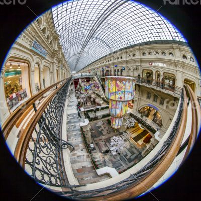 Moscow,Complete circular fisheye view of the trading floor
