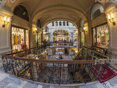 Moscow GUM shop trading floor of by fisheye view