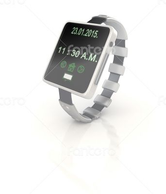 3d shinny and glossy smart watch render on white