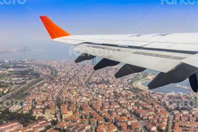 Istanbul, Turkey. A view from the window of the plane