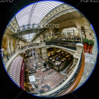 Moscow, Russia,  GUM shop trading floor of by fisheye view