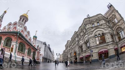 Moscow, Pedestrian zone Nikolskaya Street of by fisheye view
