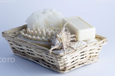 health spa setting over white background