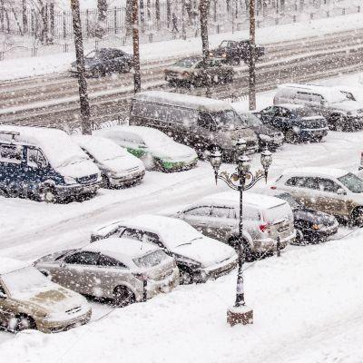 Pushkino, parking in the inhabited massif in blizzard