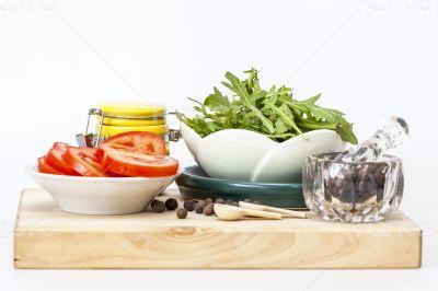 Black pepper and vegetables for salad