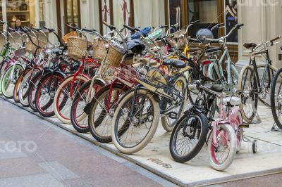 bicycles are exposed in a trading floor of GUM shop