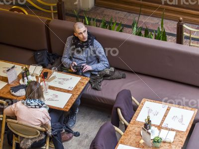 Moscow, GUM. Cafe in a trading floor of the GUM
