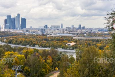 Moscow, Russia. A view of the city from an observation deck.