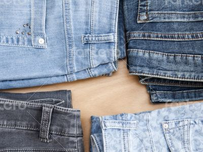 Jeans of various colors, the top view