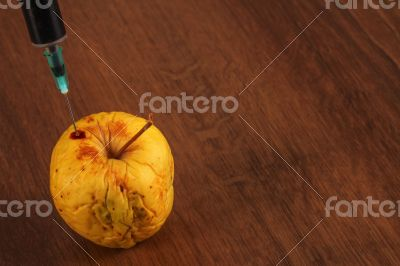 Hormone Apple on the Wood