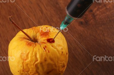 Hormone Apple on the Wood