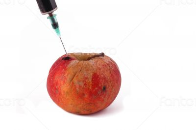 Hormone Apple on the White Background
