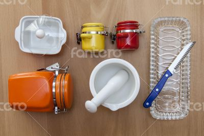 Multi-colored ceramic kitchen ware, top view