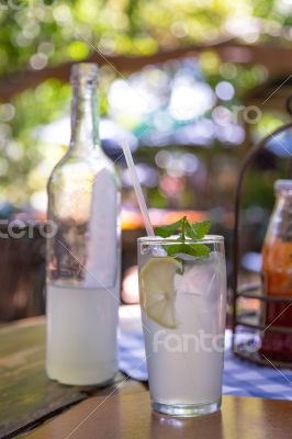 Ice cold lemonade served with mint leaves