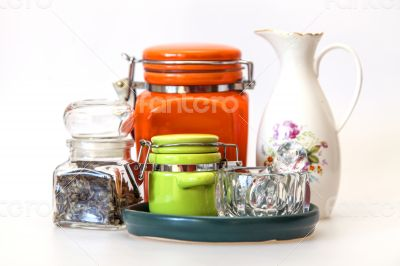 Multi-colored ceramic kitchen ware