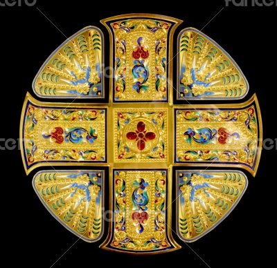 golden Holy cross decorated with gems