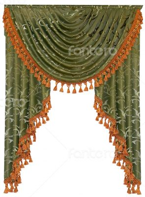 isolated textile window curtain