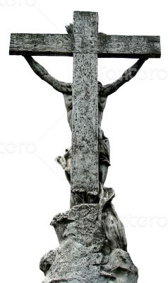 Ancient marble statue of crucified Jesus Christ