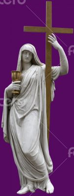 marble St. Mary with Holy Cross figurine