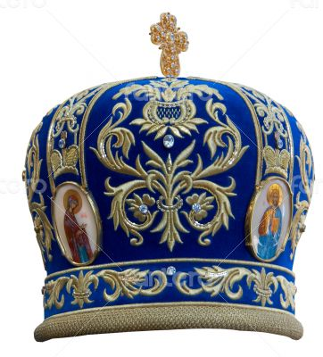 Blue mitre  solemn headgear of the orthodox bishop