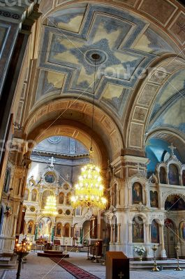interior of aged russian orthodox cathedral