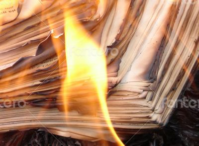 Flame of burning paper sheet stack