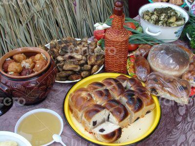 Traditional Ukrainian festive dinner meals