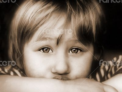 Adult look of cute lone girl child