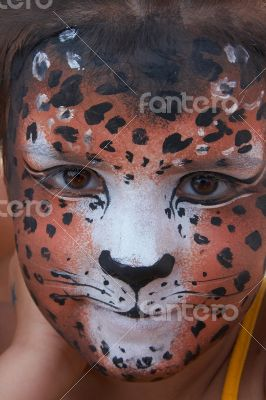 girl kid face with painted panther