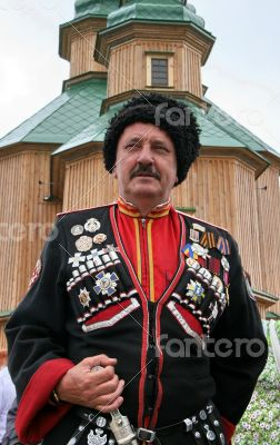 Ukrainian cossack general under wooden church