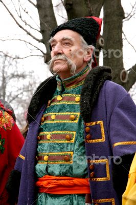 ukrainian Cossack with long gray whiskers