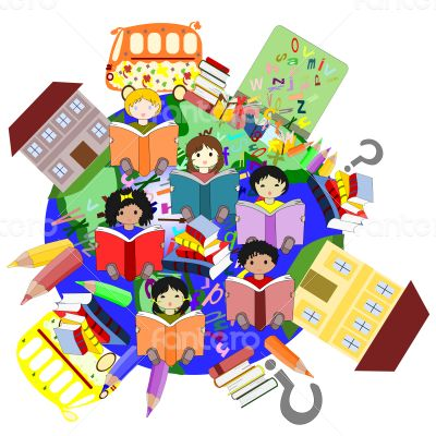 Happy children of different races reading books