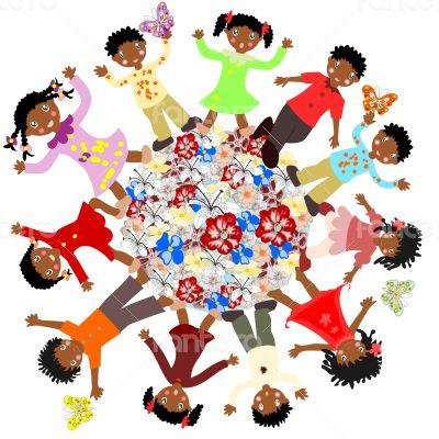 Happy African children around the world blossoms