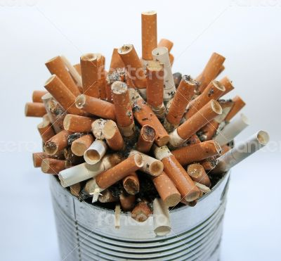 ashtray full with cigarette butt garbage pile