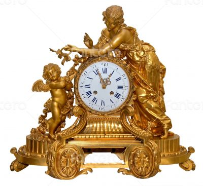 antique golden table clocks with cupid statuette