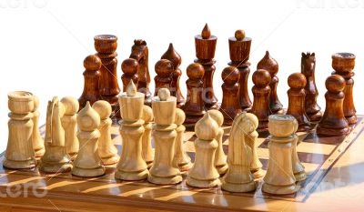 chess figurines on playing board