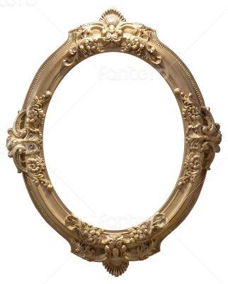 empty oval golden handmade frame