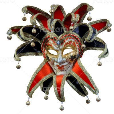 Isolated Venetian joker mask with bells