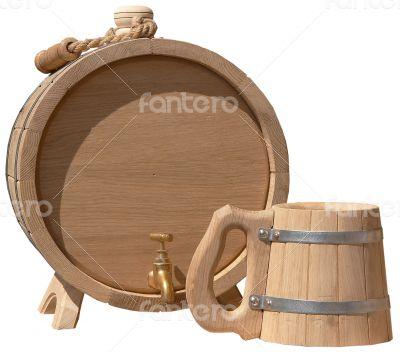 elegant handmade barrel and beer mug
